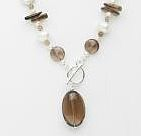 Abstract Necklace-smokey quartz and pearl £89